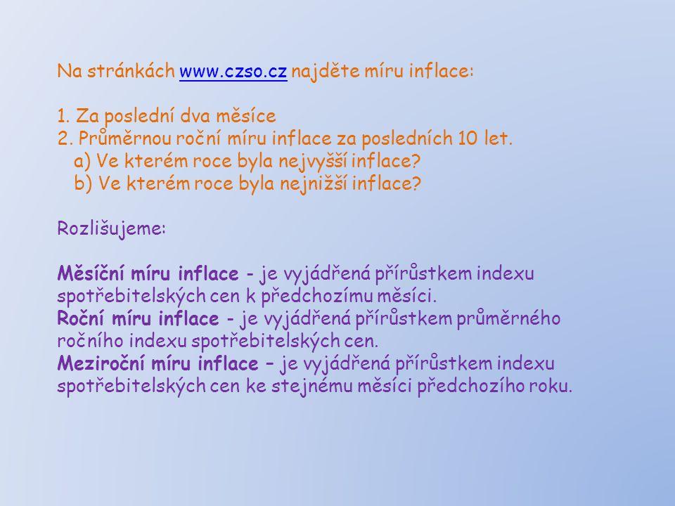 Na stránkách www.czso.cz najděte míru inflace:www.czso.cz 1.