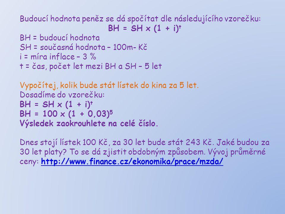 Budoucí hodnota peněz se dá spočítat dle následujícího vzorečku: BH = SH x (1 + i) t BH = budoucí hodnota SH = současná hodnota – 100m- Kč i = míra inflace – 3 % t = čas, počet let mezi BH a SH – 5 let Vypočítej, kolik bude stát lístek do kina za 5 let.