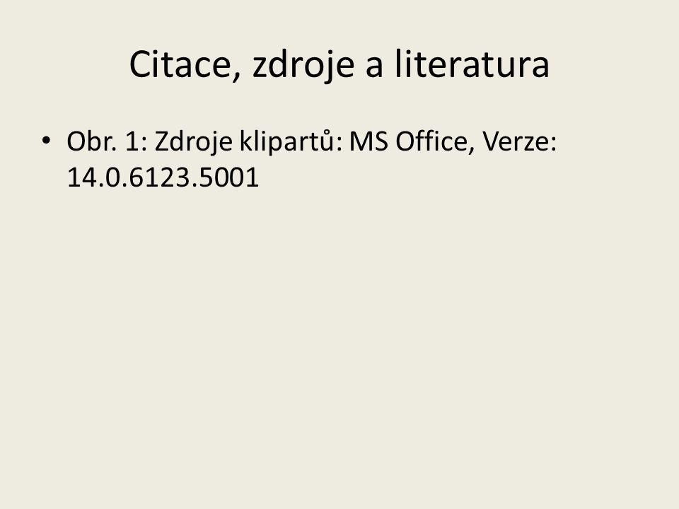 Citace, zdroje a literatura Obr. 1: Zdroje klipartů: MS Office, Verze: 14.0.6123.5001