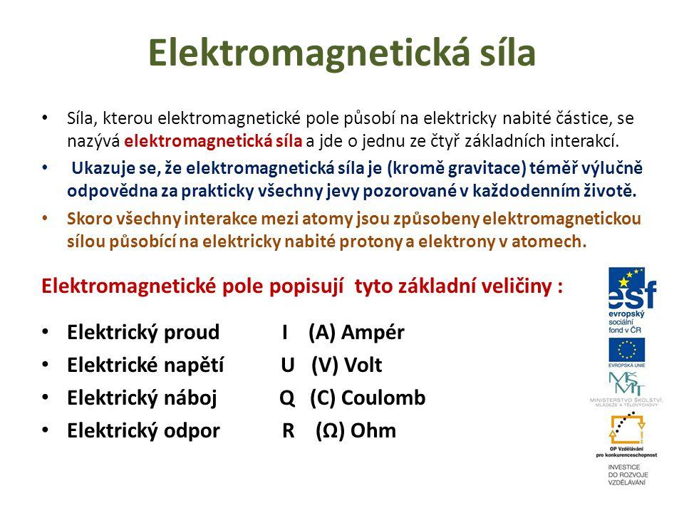 Elektromagnetická síla Síla, kterou elektromagnetické pole působí na elektricky nabité částice, se nazývá elektromagnetická síla a jde o jednu ze čtyř