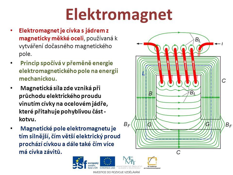 Elektromagnet Elektromagnet je cívka s jádrem z magneticky měkké oceli, používaná k vytváření dočasného magnetického pole. Princip spočívá v přeměně e
