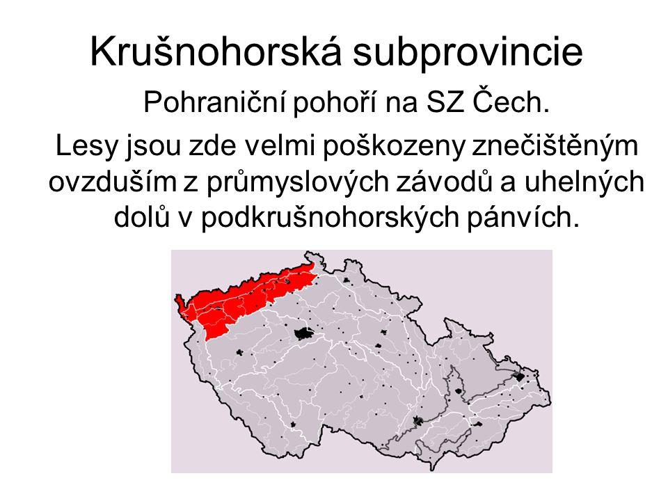 Krušnohorská subprovincie Pohraniční pohoří na SZ Čech. Lesy jsou zde velmi poškozeny znečištěným ovzduším z průmyslových závodů a uhelných dolů v pod