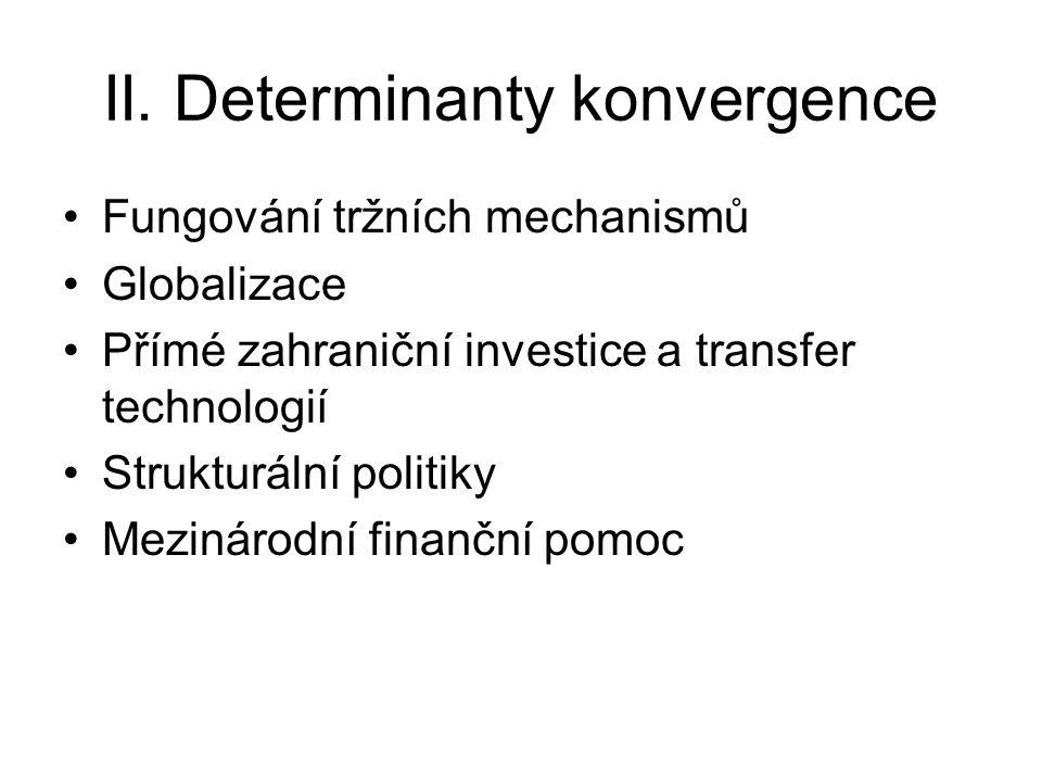 II. Determinanty konvergence Fungování tržních mechanismů Globalizace Přímé zahraniční investice a transfer technologií Strukturální politiky Mezináro
