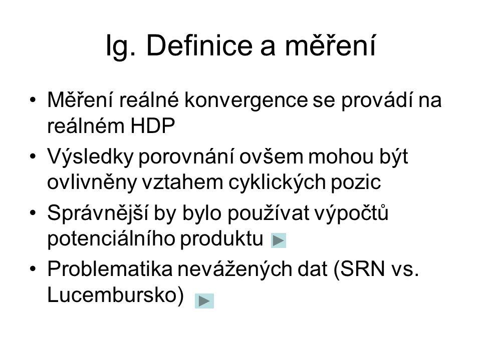 Ig. Definice a měření Relat. ekonomická úroveň ČR k EA-12, Eurostat, databáze AMECO