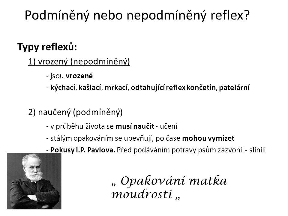 Podmíněný nebo nepodmíněný reflex.