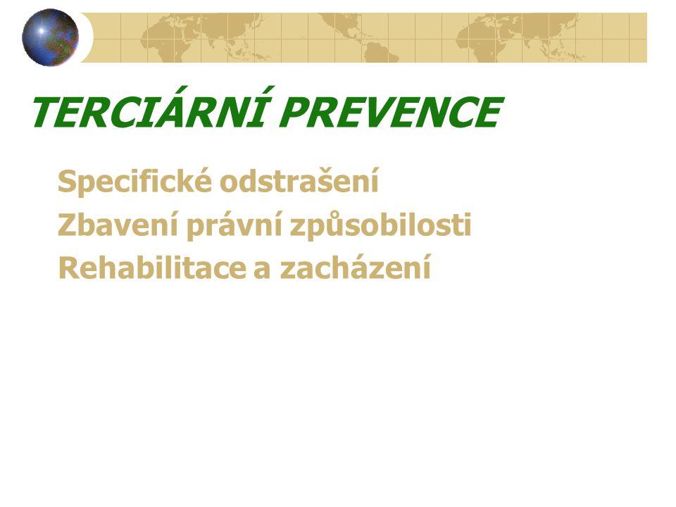 TERCIÁRNÍ PREVENCE Specifické odstrašení Zbavení právní způsobilosti Rehabilitace a zacházení