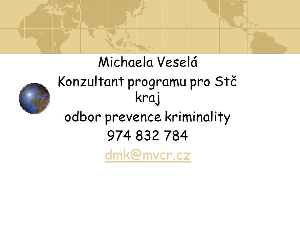 Michaela Veselá Konzultant programu pro Stč kraj odbor prevence kriminality 974 832 784 dmk@mvcr.cz