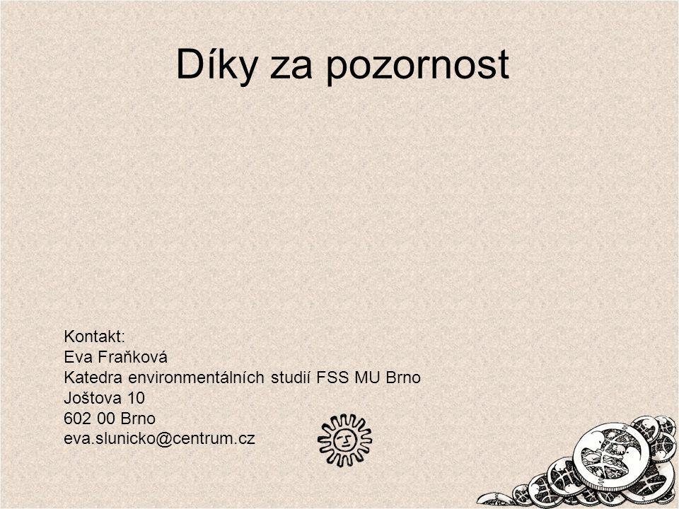 Díky za pozornost Kontakt: Eva Fraňková Katedra environmentálních studií FSS MU Brno Joštova 10 602 00 Brno eva.slunicko@centrum.cz