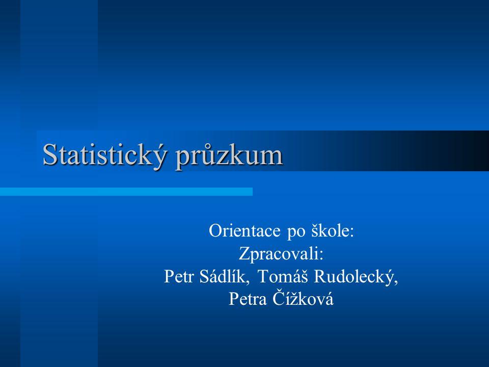 Statistický průzkum Orientace po škole: Zpracovali: Petr Sádlík, Tomáš Rudolecký, Petra Čížková