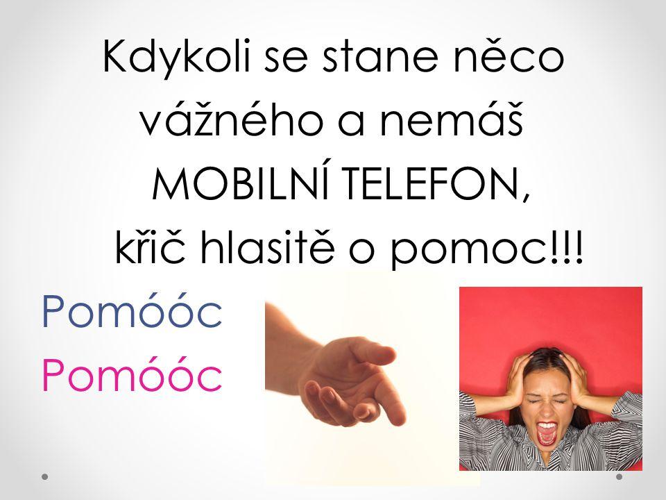 Kdykoli se stane něco vážného a nemáš MOBILNÍ TELEFON, křič hlasitě o pomoc!!! Pomóóc