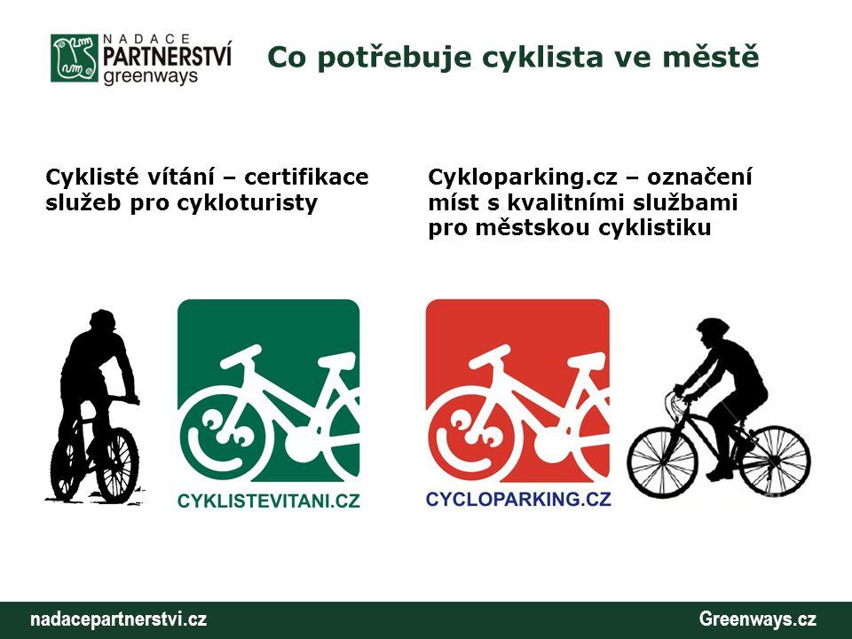 nadacepartnerstvi.cz Greenways.cz Co potřebuje cyklista ve městě Cyklisté vítání – certifikace služeb pro cykloturisty Cykloparking.cz – označení míst
