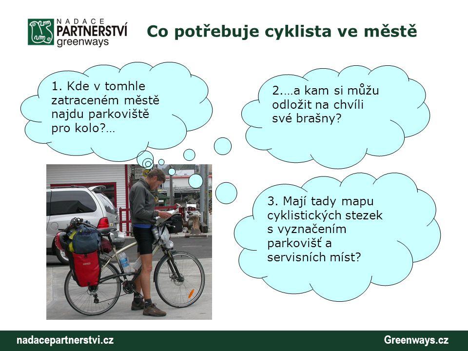nadacepartnerstvi.cz Greenways.cz Co potřebuje cyklista ve městě 3. Mají tady mapu cyklistických stezek s vyznačením parkovišť a servisních míst? 2.…a