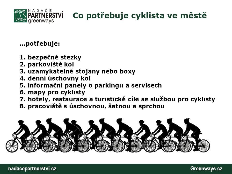 nadacepartnerstvi.cz Greenways.cz Co potřebuje cyklista ve městě …potřebuje: 1. bezpečné stezky 2. parkoviště kol 3. uzamykatelné stojany nebo boxy 4.