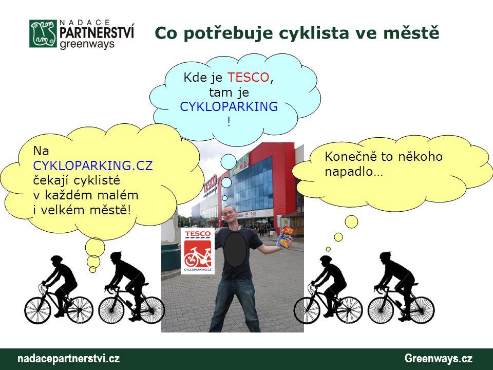 nadacepartnerstvi.cz Greenways.cz Co potřebuje cyklista ve městě Kde je TESCO, tam je CYKLOPARKING ! Na CYKLOPARKING.CZ čekají cyklisté v každém malém
