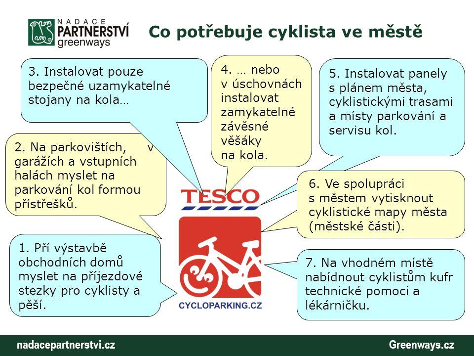 nadacepartnerstvi.cz Greenways.cz Co potřebuje cyklista ve městě Co může TESCO udělat pro své klienty: - nahradit současné stojany na kola kvalitnějšími s vyšší bezpečností proti krádeži Jednoduchý, pevný, kolo se dá uzamknout ve více bodech.