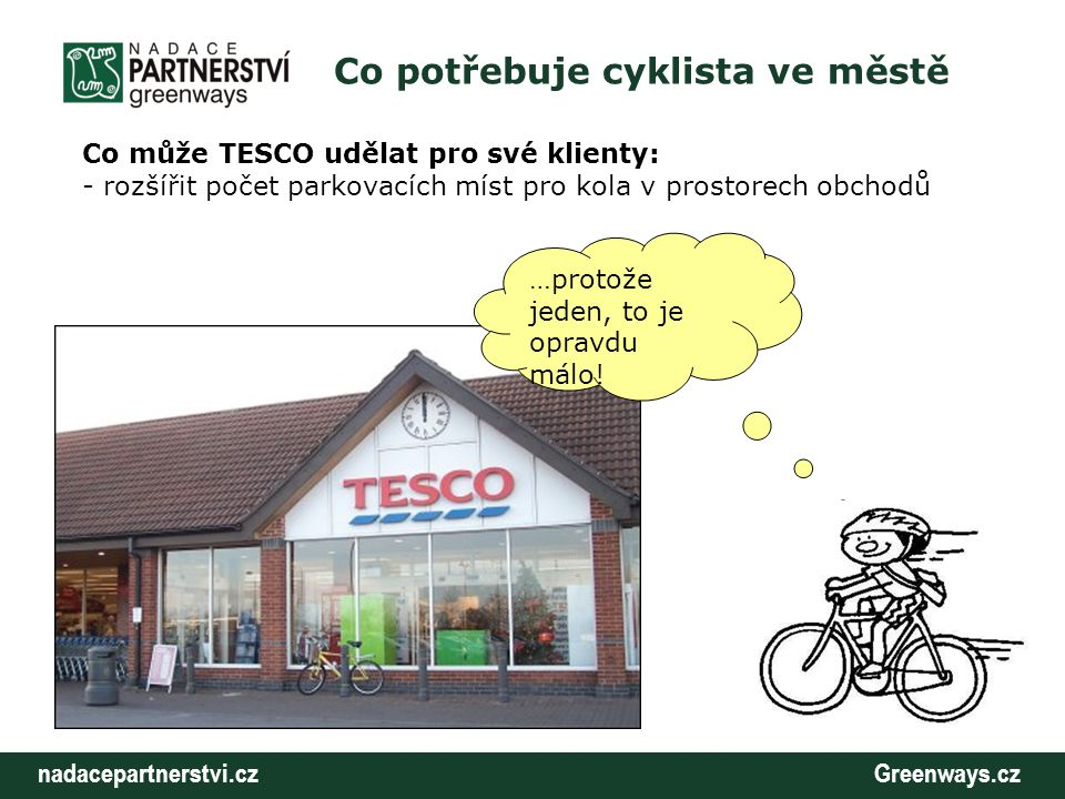nadacepartnerstvi.cz Greenways.cz Co potřebuje cyklista ve městě Co může TESCO udělat pro své klienty: - rozšířit počet parkovacích míst pro kola v pr