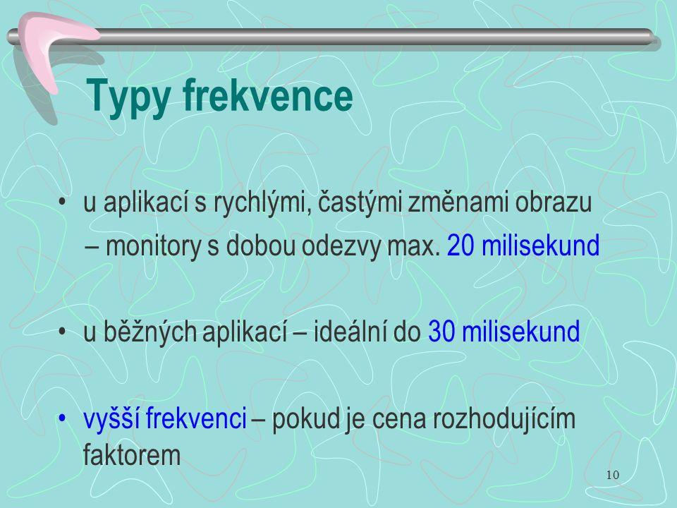 10 Typy frekvence u aplikací s rychlými, častými změnami obrazu – monitory s dobou odezvy max. 20 milisekund u běžných aplikací – ideální do 30 milise
