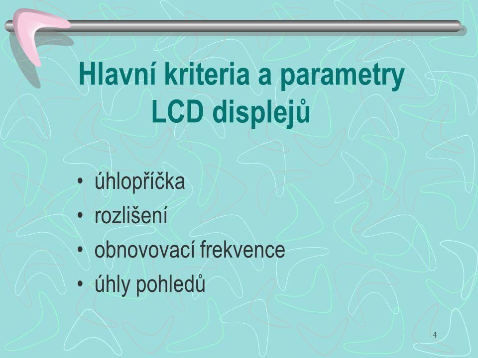 4 Hlavní kriteria a parametry LCD displejů úhlopříčka rozlišení obnovovací frekvence úhly pohledů