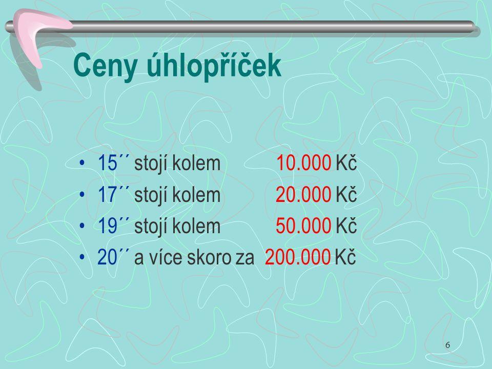 6 Ceny úhlopříček 15´´ stojí kolem 10.000 Kč 17´´ stojí kolem 20.000 Kč 19´´ stojí kolem 50.000 Kč 20´´ a více skoro za 200.000 Kč