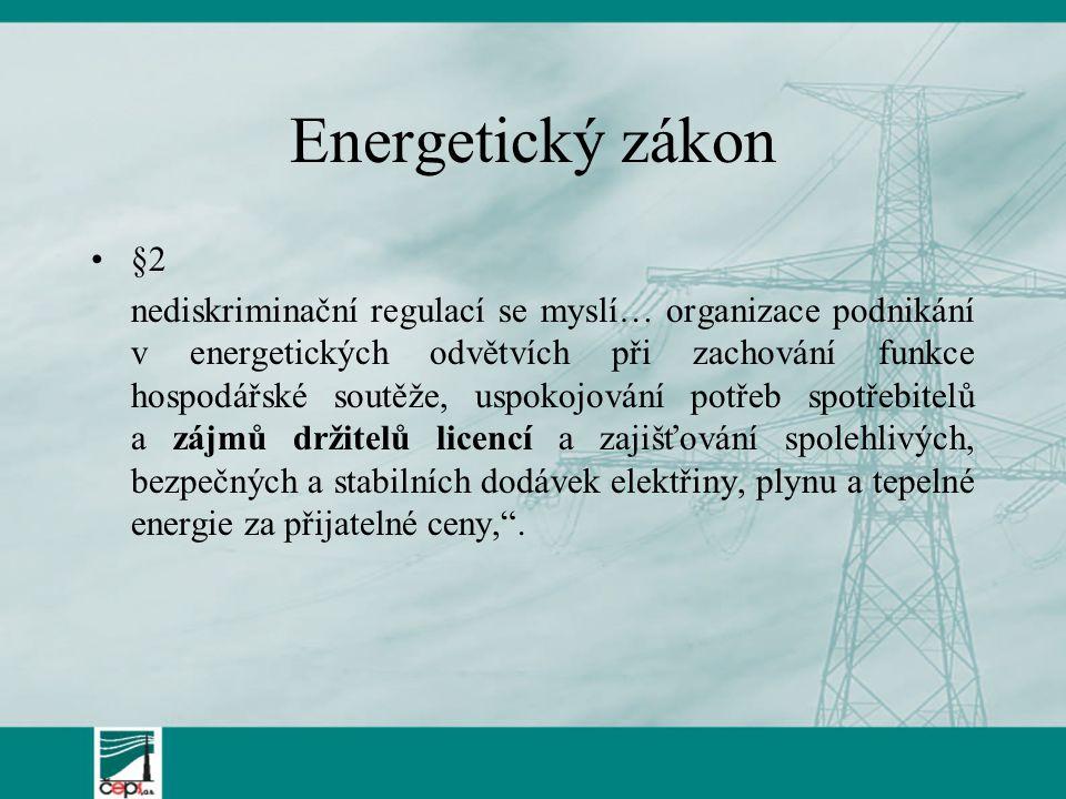 Energetický zákon §2 nediskriminační regulací se myslí… organizace podnikání v energetických odvětvích při zachování funkce hospodářské soutěže, uspok