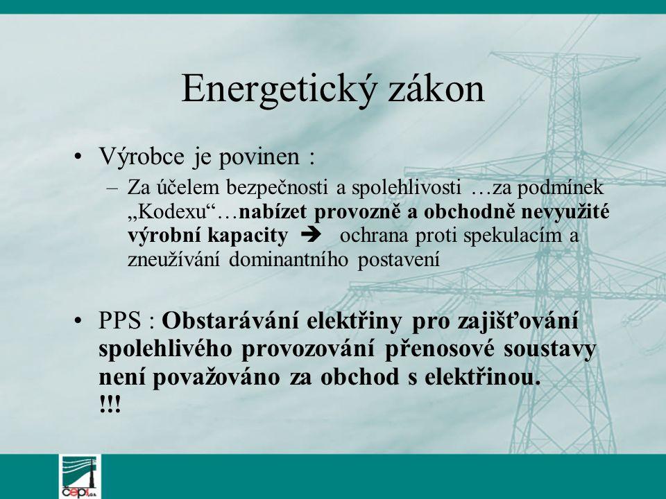 """Energetický zákon Výrobce je povinen : –Za účelem bezpečnosti a spolehlivosti …za podmínek """"Kodexu""""…nabízet provozně a obchodně nevyužité výrobní kapa"""