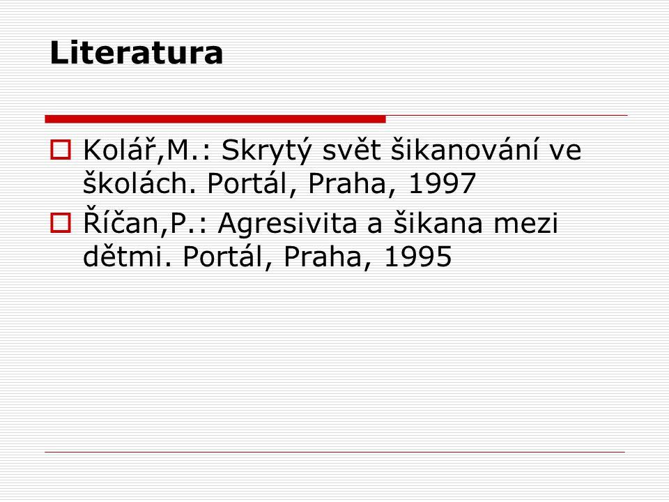 Literatura  Kolář,M.: Skrytý svět šikanování ve školách.