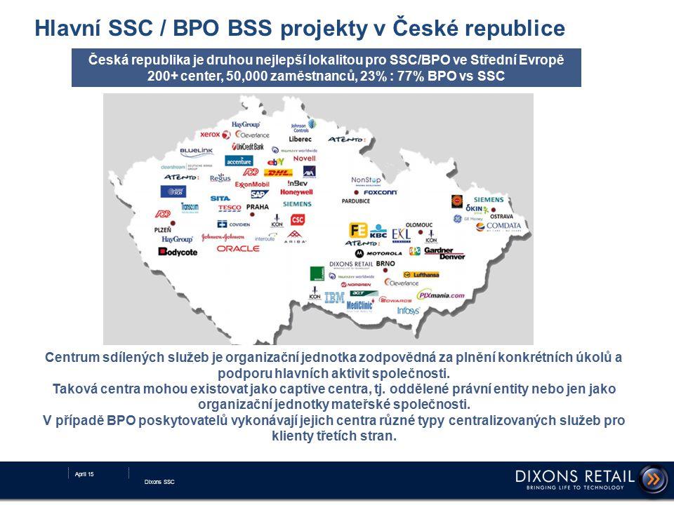 Hlavní SSC / BPO BSS projekty v České republice Česká republika je druhou nejlepší lokalitou pro SSC/BPO ve Střední Evropě 200+ center, 50,000 zaměstn