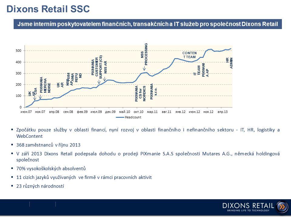 Dixons Retail SSC  Zpočátku pouze služby v oblasti financí, nyní rozvoj v oblasti finančního i nefinančního sektoru - IT, HR, logistiky a WebContent