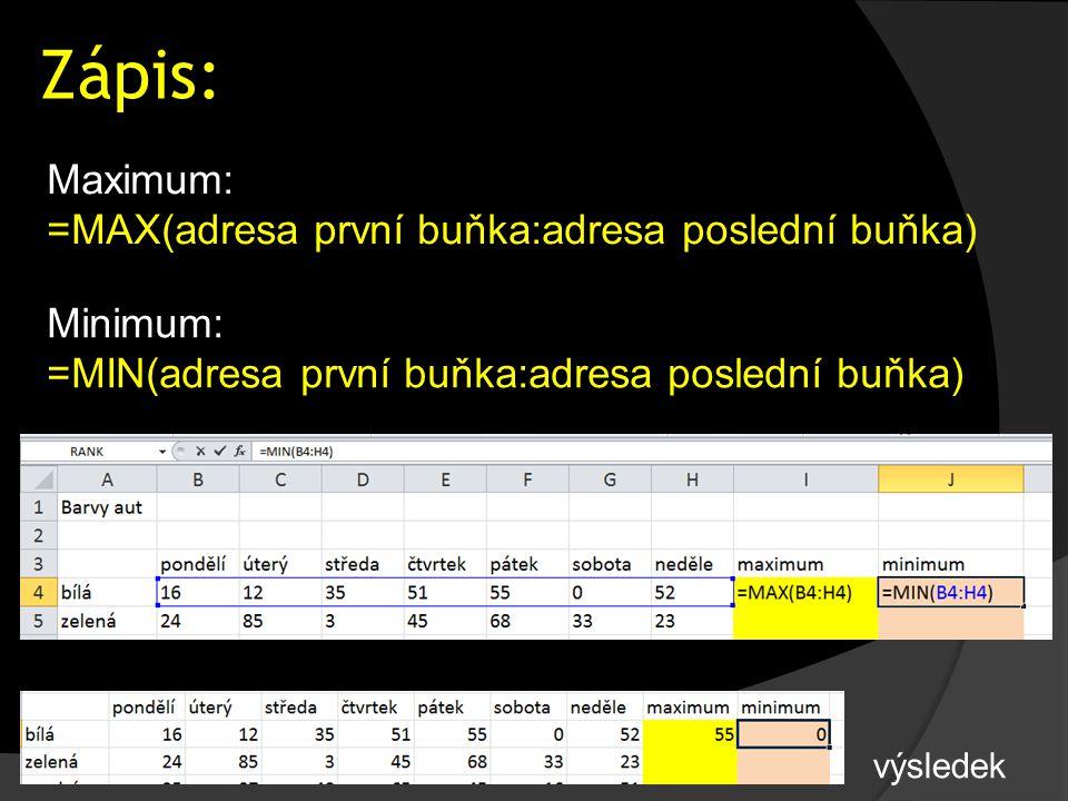Zápis: Maximum: =MAX(adresa první buňka:adresa poslední buňka) Minimum: =MIN(adresa první buňka:adresa poslední buňka) výsledek