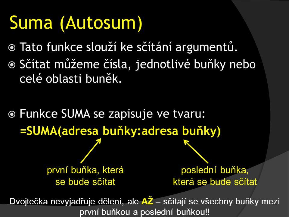 Suma (Autosum)  Tato funkce slouží ke sčítání argumentů.