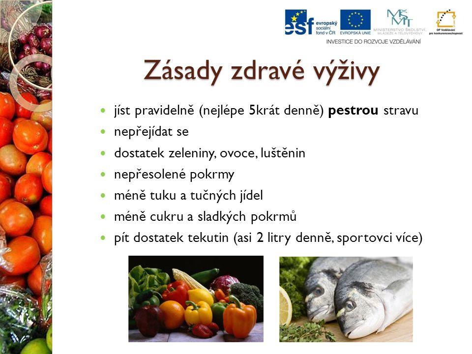 Zásady zdravé výživy jíst pravidelně (nejlépe 5krát denně) pestrou stravu nepřejídat se dostatek zeleniny, ovoce, luštěnin nepřesolené pokrmy méně tuk