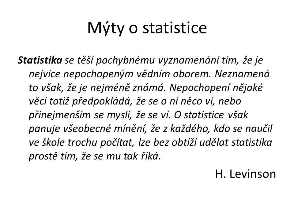Mýty o statistice Statistika se těší pochybnému vyznamenání tím, že je nejvíce nepochopeným vědním oborem.
