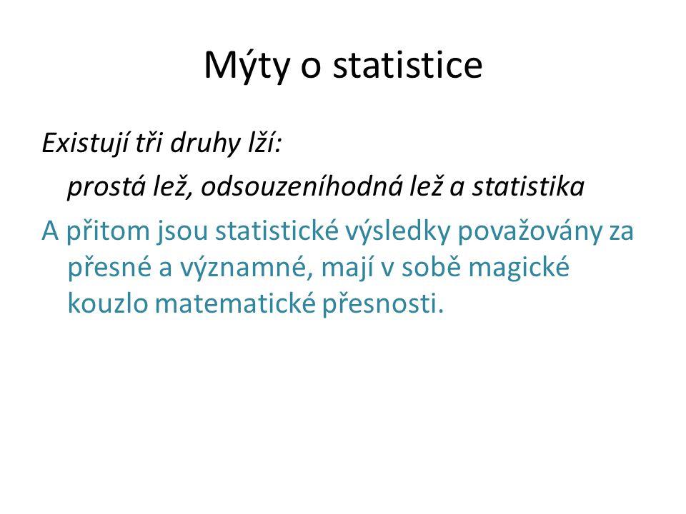 Mýty o statistice Existují tři druhy lží: prostá lež, odsouzeníhodná lež a statistika A přitom jsou statistické výsledky považovány za přesné a významné, mají v sobě magické kouzlo matematické přesnosti.