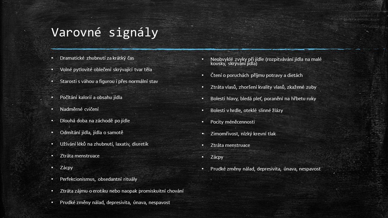 Varovné signály ▪ Dramatické zhubnutí za krátký čas ▪ Volné pytlovité oblečení skrývající tvar těla ▪ Starosti s váhou a figurou i přes normální stav ▪ Počítání kalorií a obsahu jídla ▪ Nadměrné cvičení ▪ Dlouhá doba na záchodě po jídle ▪ Odmítání jídla, jídla o samotě ▪ Užívání léků na zhubnutí, laxativ, diuretik ▪ Ztráta menstruace ▪ Zácpy ▪ Perfekcionismus, obsedantní rituály ▪ Ztráta zájmu o erotiku nebo naopak promiskuitní chování ▪ Prudké změny nálad, depresivita, únava, nespavost ▪ Neobvyklé zvyky při jídle (rozpitvávání jídla na malé kousky, skrývání jídla) ▪ Čtení o poruchách příjmu potravy a dietách ▪ Ztráta vlasů, zhoršení kvality vlasů, zkažené zuby ▪ Bolesti hlavy, bledá pleť, poranění na hřbetu ruky ▪ Bolesti v hrdle, oteklé slinné žlázy ▪ Pocity méněcennosti ▪ Zimomřivost, nízký krevní tlak ▪ Ztráta menstruace ▪ Zácpy ▪ Prudké změny nálad, depresivita, únava, nespavost