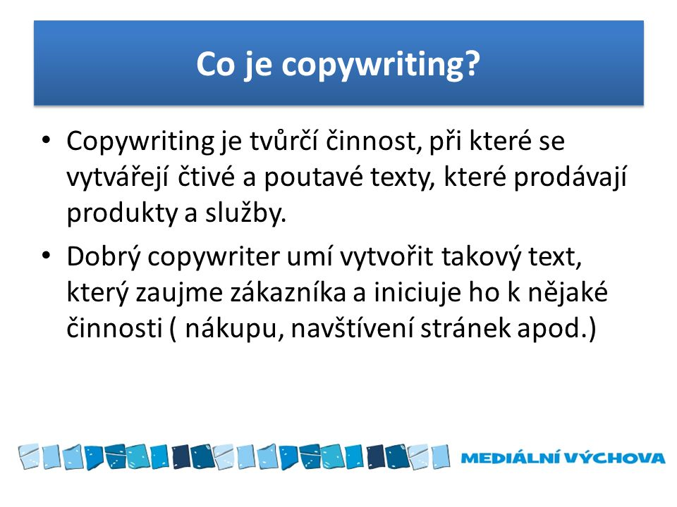 Co je copywriting.