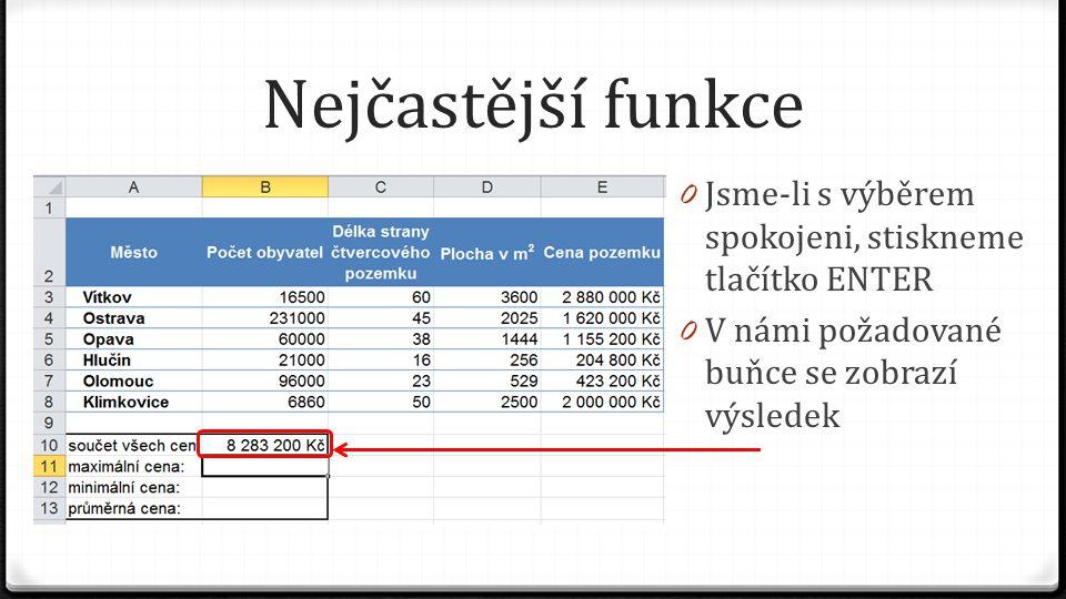 Nejčastější funkce 0 Jsme-li s výběrem spokojeni, stiskneme tlačítko ENTER 0 V námi požadované buňce se zobrazí výsledek