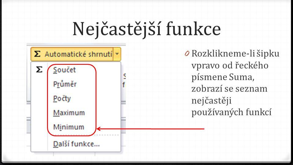 Nejčastější funkce 0 Rozklikneme-li šipku vpravo od řeckého písmene Suma, zobrazí se seznam nejčastěji používaných funkcí