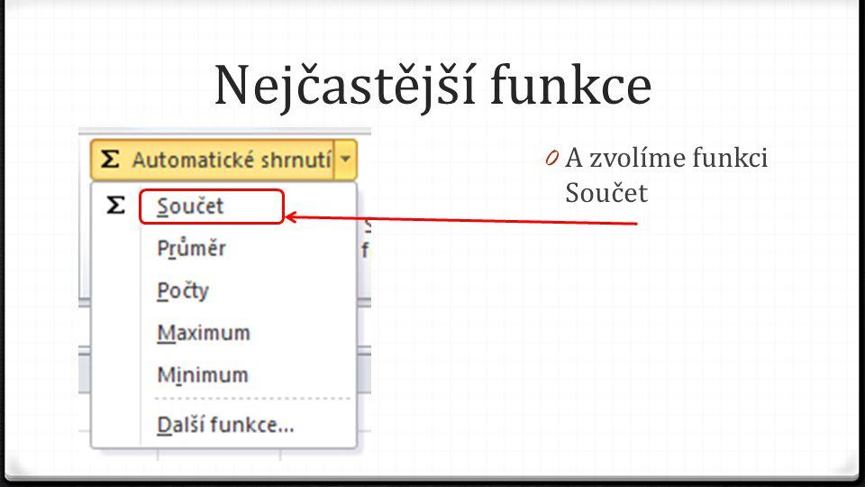 Nejčastější funkce 0 Excel vepíše do řádku funkci =SUMA(B3:B9)