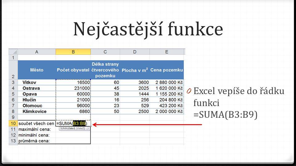 Nejčastější funkce 0 A zároveň vyznačí, pokud je to možné, přerušovanou čarou řadu čísel, o které si myslí, že ji chceme sečíst