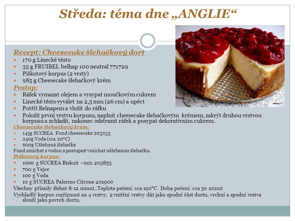 """Středa: téma dne """"ANGLIE"""" Recept: Cheesecake šlehačkový dort 170 g Linecké těsto 35 g FRUIBEL belhap 100 neutral 771729 Piškotový korpus (2 vrsty) 985"""