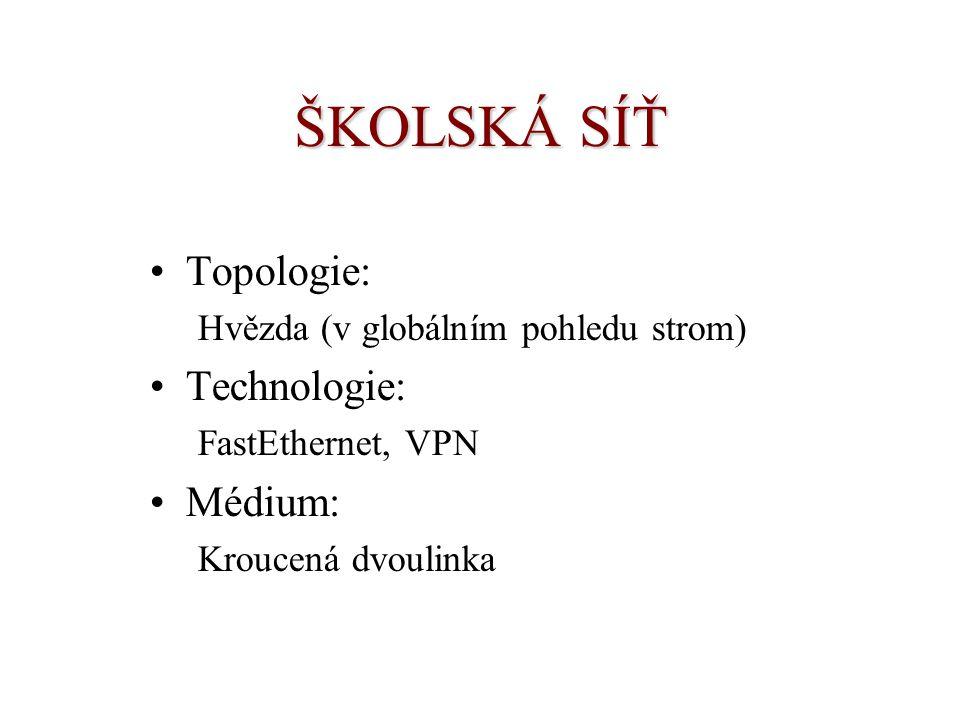 ŠKOLSKÁ SÍŤ Topologie: Hvězda (v globálním pohledu strom) Technologie: FastEthernet, VPN Médium: Kroucená dvoulinka