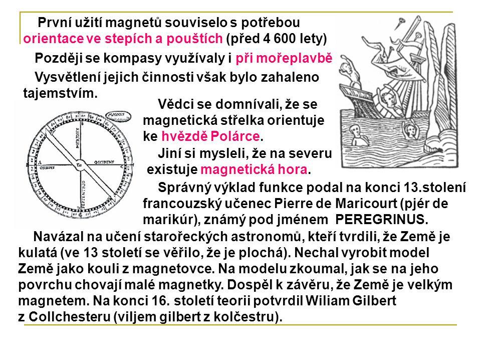 Vědci se domnívali, že se magnetická střelka orientuje ke hvězdě Polárce. První užití magnetů souviselo s potřebou orientace ve stepích a pouštích (př