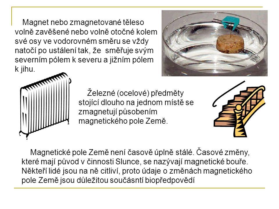 Magnet nebo zmagnetované těleso volně zavěšené nebo volně otočné kolem své osy ve vodorovném směru se vždy natočí po ustálení tak, že směřuje svým sev