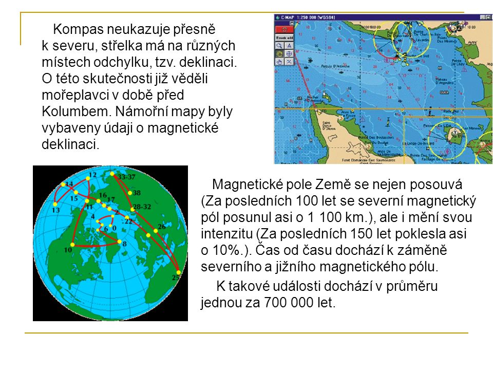 Kompas neukazuje přesně k severu, střelka má na různých místech odchylku, tzv. deklinaci. O této skutečnosti již věděli mořeplavci v době před Kolumbe