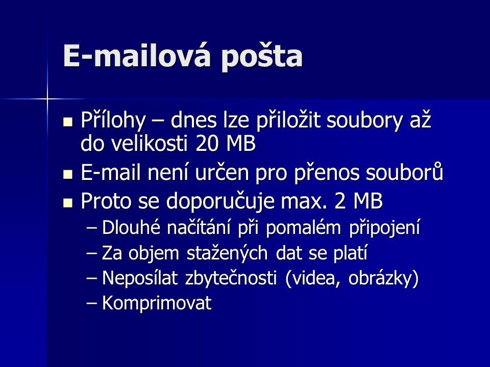 E-mailová pošta Přílohy – dnes lze přiložit soubory až do velikosti 20 MB Přílohy – dnes lze přiložit soubory až do velikosti 20 MB E-mail není určen