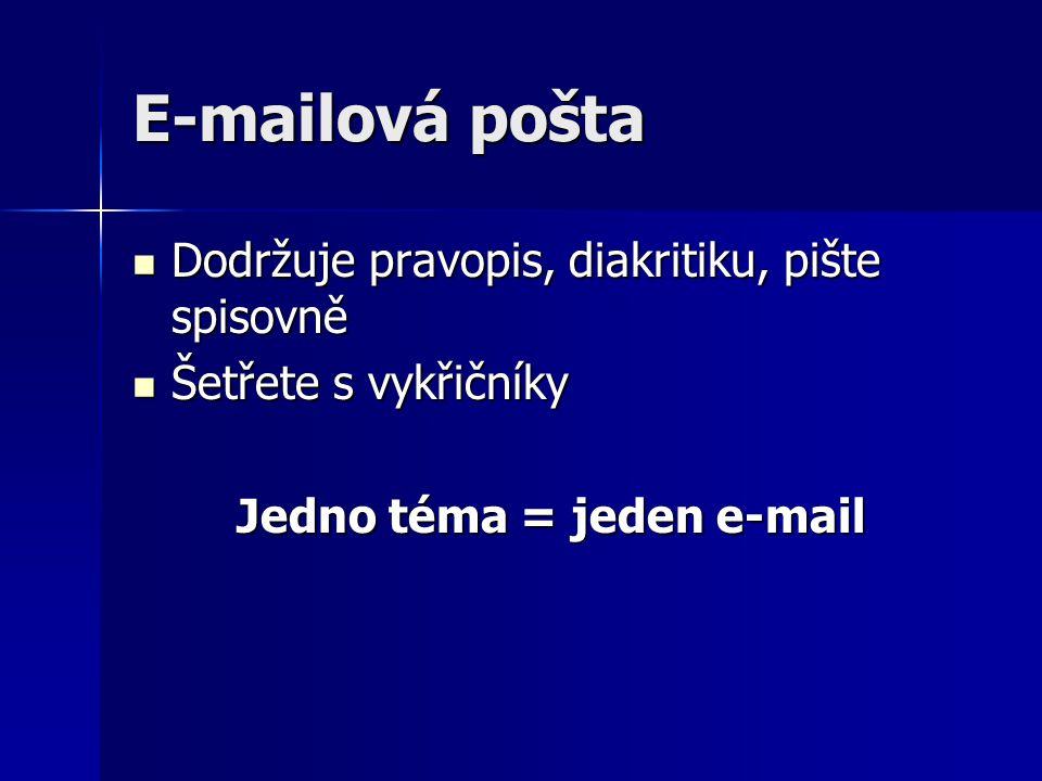 E-mailová pošta Dodržuje pravopis, diakritiku, pište spisovně Dodržuje pravopis, diakritiku, pište spisovně Šetřete s vykřičníky Šetřete s vykřičníky