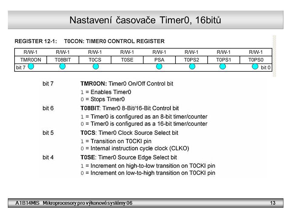 A1B14MIS Mikroprocesory pro výkonové systémy 0613 Nastavení časovače Timer0, 16bitů