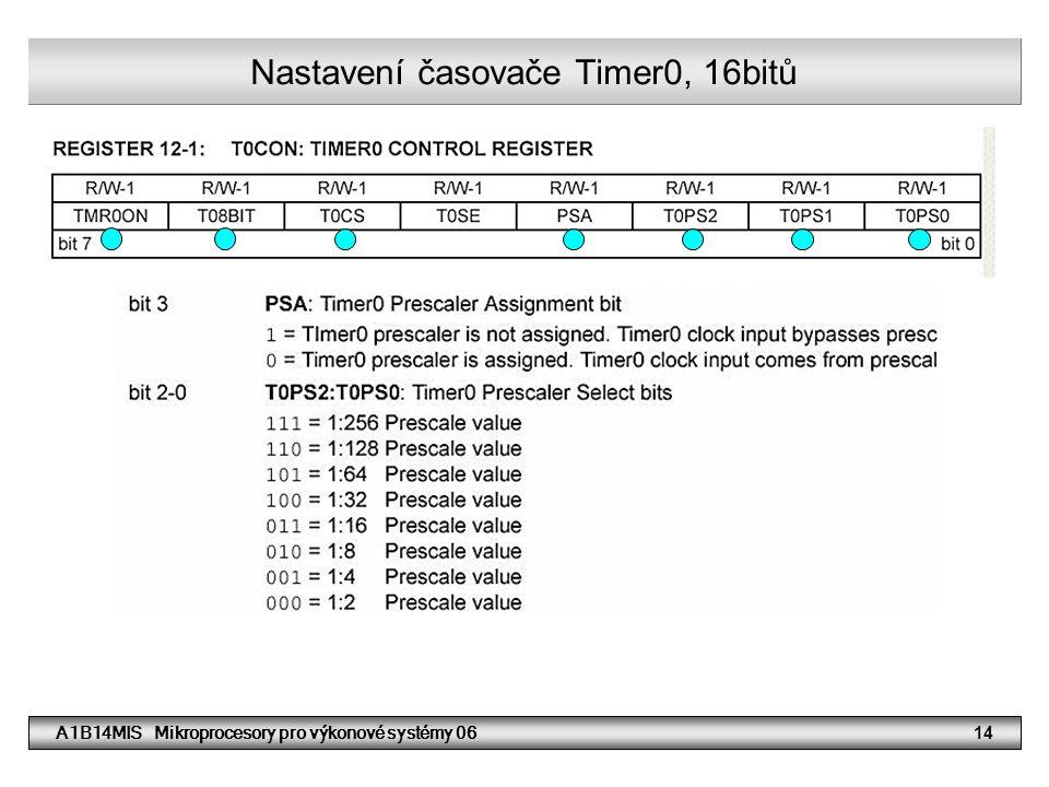 A1B14MIS Mikroprocesory pro výkonové systémy 0614 Nastavení časovače Timer0, 16bitů