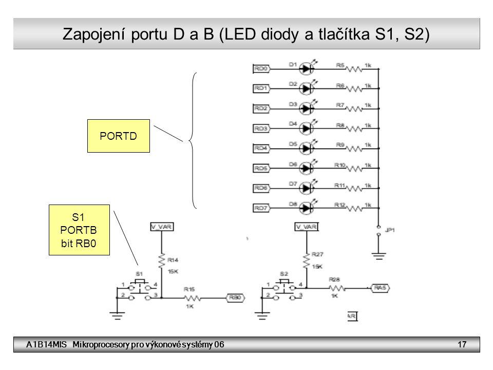 A1B14MIS Mikroprocesory pro výkonové systémy 0617 Zapojení portu D a B (LED diody a tlačítka S1, S2) PORTD S1 PORTB bit RB0