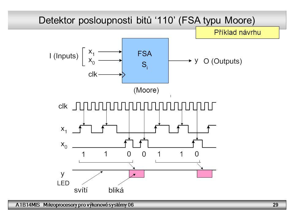 A1B14MIS Mikroprocesory pro výkonové systémy 0629 Detektor posloupnosti bitů '110' (FSA typu Moore) (Moore) Příklad návrhu